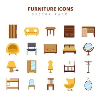 Möbel-icons-vektor-pack