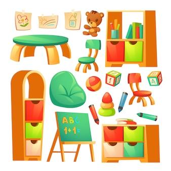 Möbel im montessori kindergarten