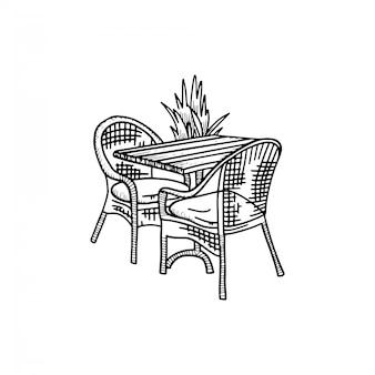 Möbel im sommercafé - zwei stühle mit tisch und pflanze. kaffee-bistro im freien. skizze hand gezeichnete illustration.
