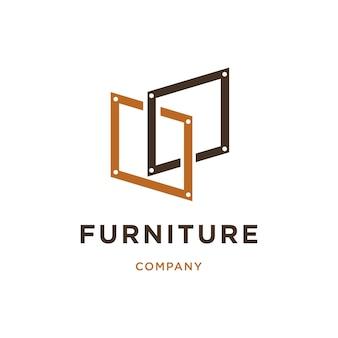 Möbel-logo-design mit rechteck-symbol kombinieren