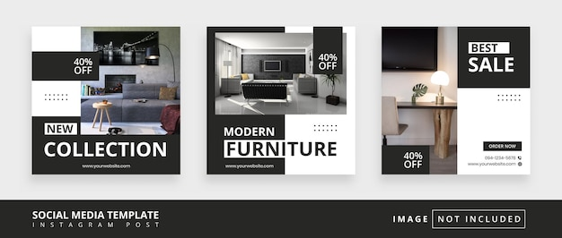 Möbel minimal quadratische social media promotion-vorlagen