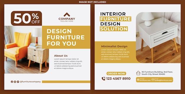 Möbel-promotion-feed instagram im flat-design-stil