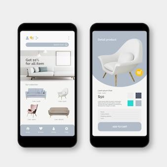 Möbel-shopping-app-oberfläche