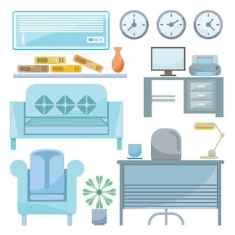 Möbel- und bürobedarf für die dekoration von büroszenen