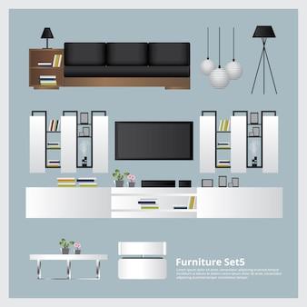 Möbel und inneneinrichtung gesetzte vektor-illustration
