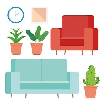 Möbel und wohnaccessoires icons set.