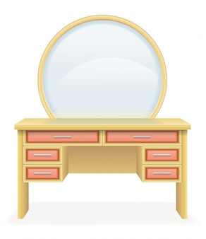 Möbel-vektorillustration der eitelkeitstabelle moderne