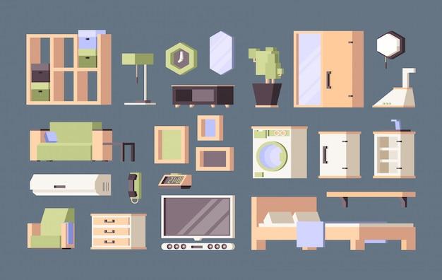 Möbel wohnzimmer. tische schreibtisch stühle bett orthogonale flache bilder