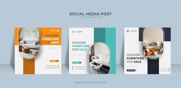 Möbeldesign verkauf social media und instagram post vorlage Premium Vektoren