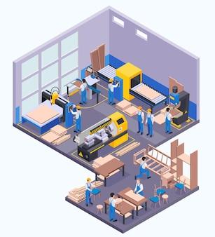 Möbelproduktion isometrisch der fabrikhalle mit arbeitern und moderner ausrüstung zum holzpressen, sägen, bohren