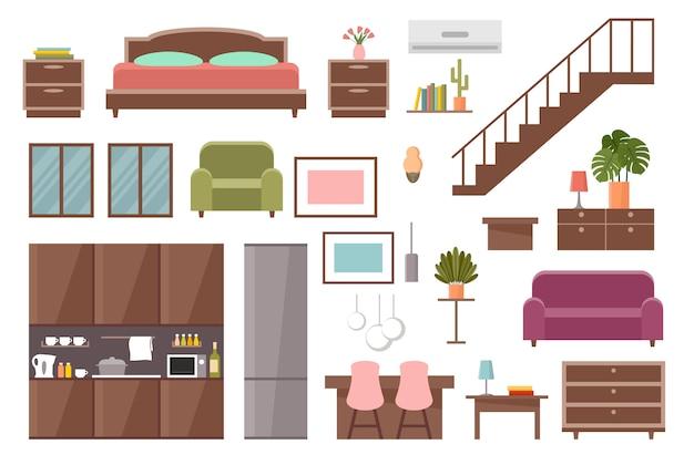 Möbelset. schlafzimmer, küche, esszimmer