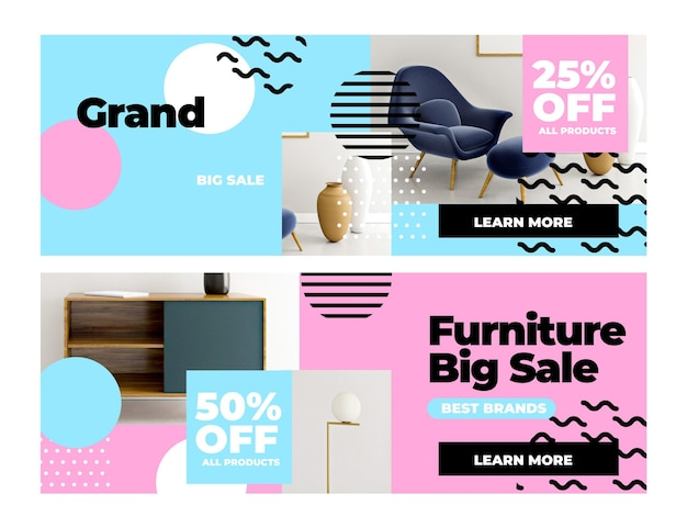 Möbelverkaufsbanner mit foto