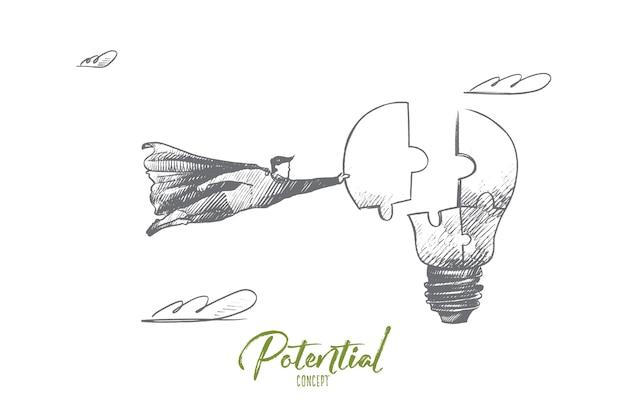 Mögliches konzept. hand gezeichneter superheld mit stück glühbirne als symbol für erfolgsaussichten. fliegender held vervollständigt glühbirne aus kleinen stücken isolierte illustration.