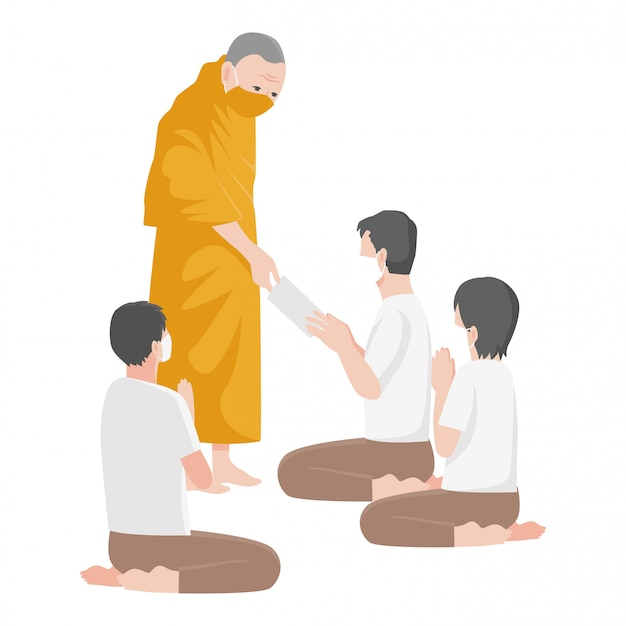Mönch hilft menschen, indem er menschen geld anbietet und eine chirurgische medizinische schutzmaske trägt