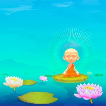 Mönch meditiert