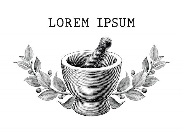 Mörser und stößel mit kräuterrahmen vintage gravur illustration logo isoliert auf weißem hintergrund,