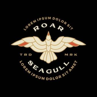 Möwenabzeichen brüllen fliegende logo-vektor-symbol-illustration