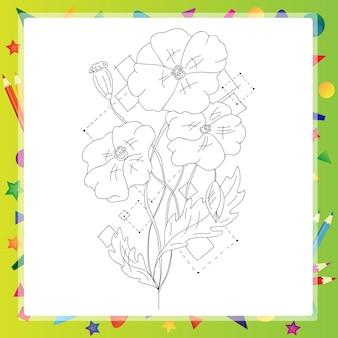 Mohnblume schöner isolierter handgezeichneter vektor