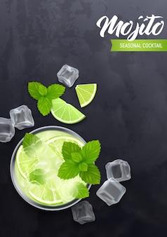 Mojito-cocktail mit minze, limette und rum realistische illustration