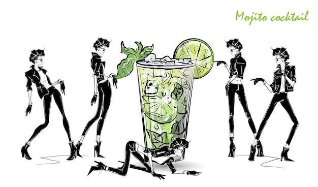 Mojito cocktail. modemädchen in der artskizze mit cocktail. vektorillustration