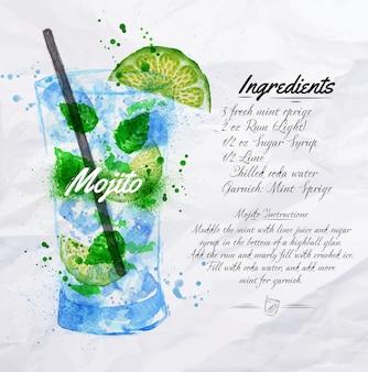 Mojito cocktails aquarell