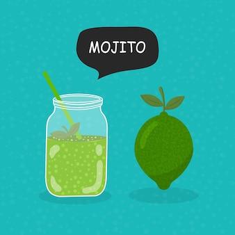Mojito-flaches symbol auf blauem hintergrund isoliert einfaches mojito-zeichensymbol im flachen stil