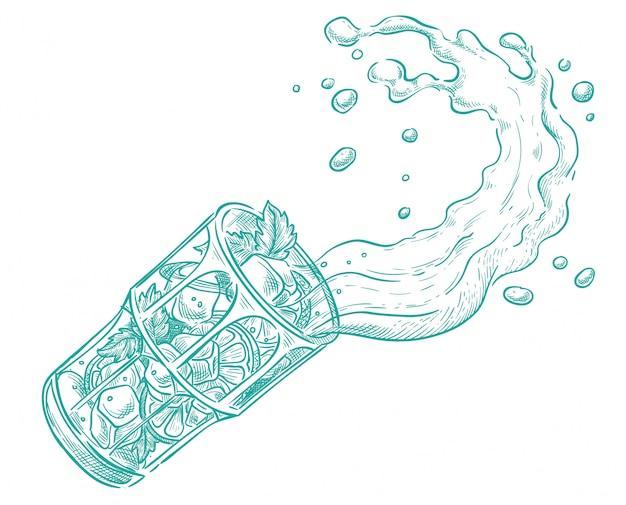 Mojito läuft aus dem glas heraus. vektorskizze