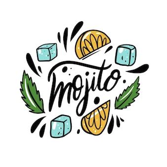 Mojito-namenstext schwarze farbbeschriftung und bunte vektorillustration eiswürfel zitrone und minze
