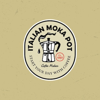 Moka pot kaffee logo abzeichen illustration