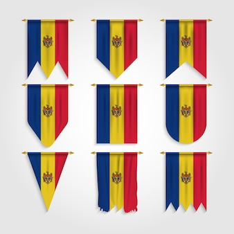 Moldawien flagge in verschiedenen formen