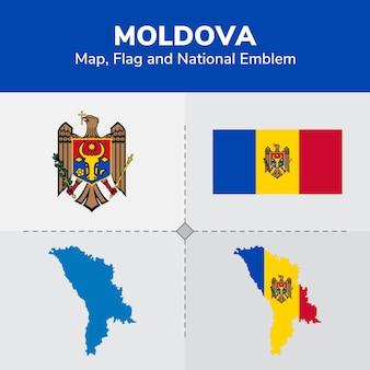 Moldawien karte, flagge und nationales emblem