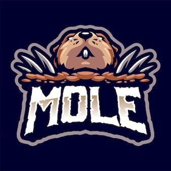 Mole head maskottchen logo für sport und esport isoliert