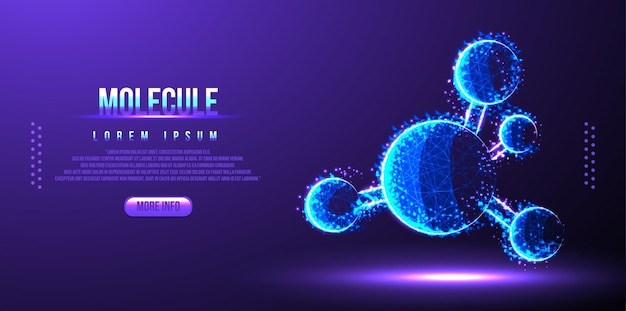 Molecule dna low poly wireframe