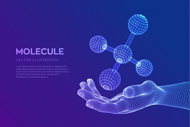 Molekül in der hand. dna, atom, neuronen. moleküle und chemische formeln.