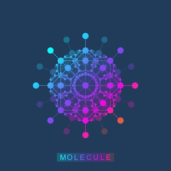 Molekül-logo-vorlagensymbol, logo der wissenschaftsgenetik, dna-helix. genetische analyse, forschung biotechnologischer code dna, moleküle. genomchromosom der biotechnologie. vektor-illustration