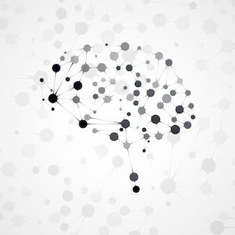 Molekülstruktur in form von gehirn, futuristische illustration