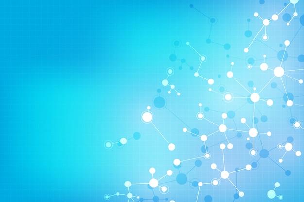 Molekülstrukturen und neuronales netzwerk. dna-moleküle und gentechnik