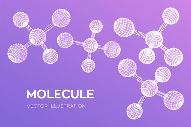Molekulare struktur. dna, atom, neuronen. moleküle und chemische formeln.