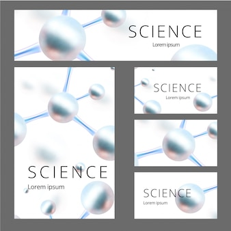 Molekulares abstraktes identitätsset. banner, a4 leer, visitenkarte. illustration. atome.