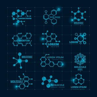 Molekulares logo mit glanzeffekt. chemie dna molekül wissenschaftliche struktur atom symbole gesetzt