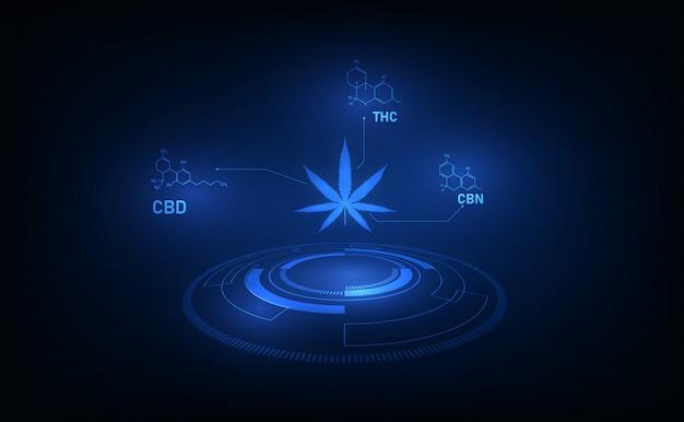 Molekularstrukturchemie-formel tetrahydrocannabinol-muster für medizinisches cannabis