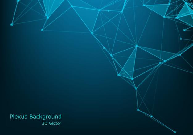 Molekulartechnologie mit linearen und polygonalen formen auf dunkelblau