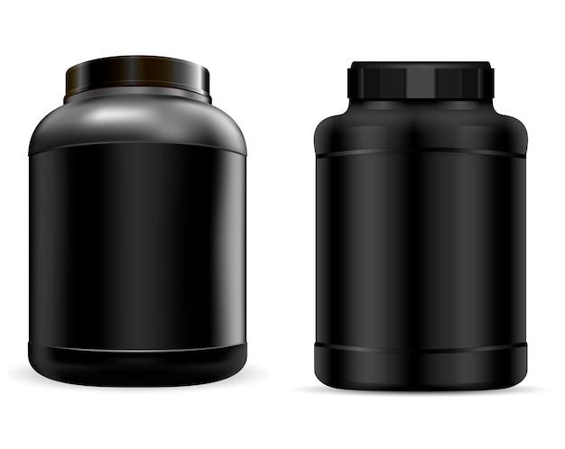 Molkeproteinbehälter. schwarzes protein-glas. können