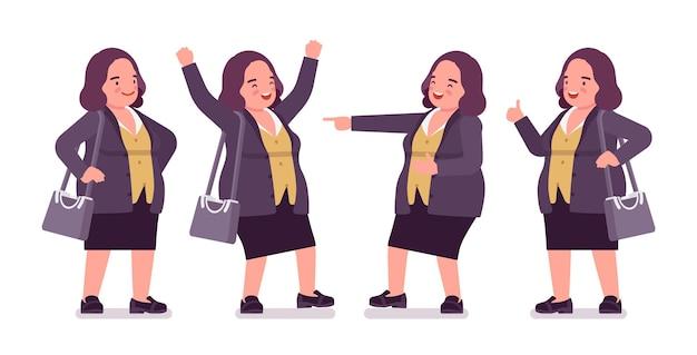 Mollige frau in positiver emotion. übergewichtige dame mittleren alters, nette angestellte im öffentlichen dienst. kurviger, üppiger körpertyp, große damenmode, formelle kleidung in übergröße. vektor-flache cartoon-illustration