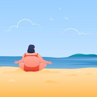 Mollige junge frau, die yoga am tropischen strand tut. meditieren mit natürlicher illustration.