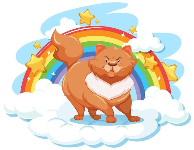 Mollige katze auf der wolke mit regenbogen