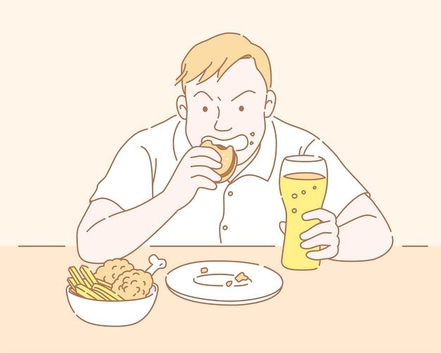 Molliger mann, der fast food isst und glas bier im dünnen linienstil hält