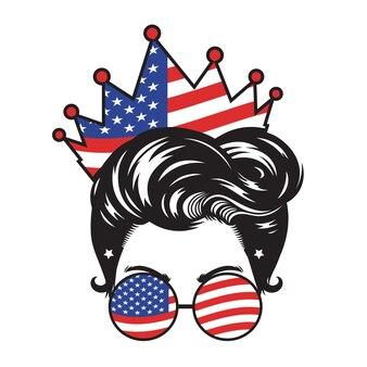 Mom usa crown head design auf weißem hintergrund. vektor-illustration.