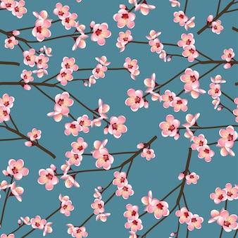 Momo pfirsich-blumen-blüte nahtlos auf blauem hintergrund
