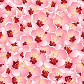 Momo-pfirsich-blumen-blüten-nahtloser hintergrund